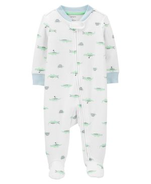 Carter's Alligators 2-Way Zip Cotton Sleep & Play - White