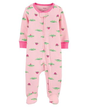 Carter'sAlligator 2-Way Zip Cotton Footless Sleep & Play - Pink