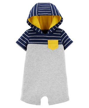 Carter's Striped Hooded Romper - Grey