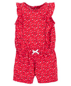 Carter's Floral Ruffle Romper - Red