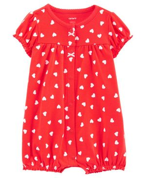 Carter's Heart Snap Up Romper - Red