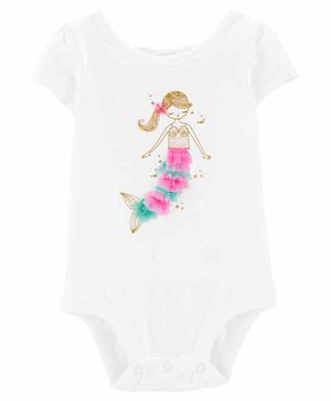 Carter's Glitter Mermaid Bow Back Bodysuit - White
