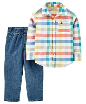 Carter's 2 Piece Plaid Button Front Top Denim Pant Set - Multicolor