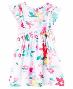 Carter's Floral Flutter Dress - White