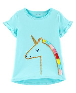 Carter's Sequin Unicorn Jersey Tee - Turquoise Blue