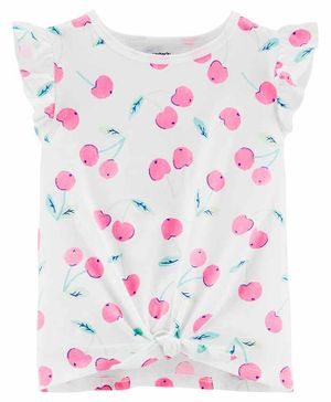 Carter's Cherry Tie Front Jersey Top - White Pink