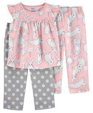 Carter's 3-Piece Bunny Poly PJs - Pink Grey
