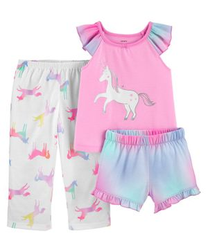 Carter's 3-Piece Glitter Unicorn Poly PJs - Pink White