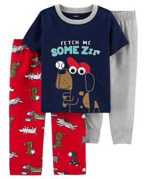 Carter's 3-Piece Dog Poly PJs - Navy Grey Red