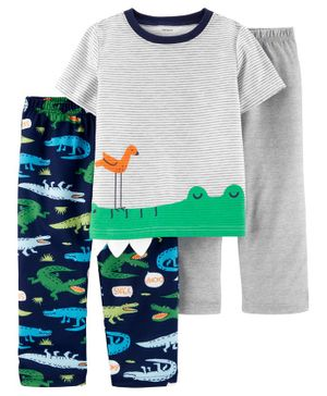 Carter's 3-Piece Alligator Poly PJs - Grey Navy
