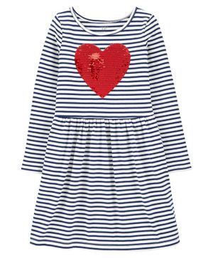 Carter's Flip Sequin Heart Striped Jersey Dress - White
