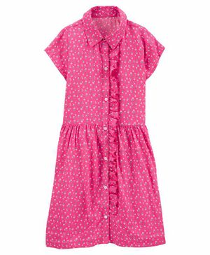 Carter's Floral Button-Front Shirt Dress - Pink