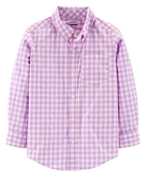 Carter's Full Sleeves Checked Shirt  - Purple