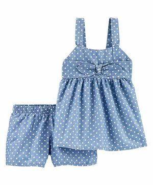 Carter's Singlet Polka Dotted Chambray Top & Shorts - Blue