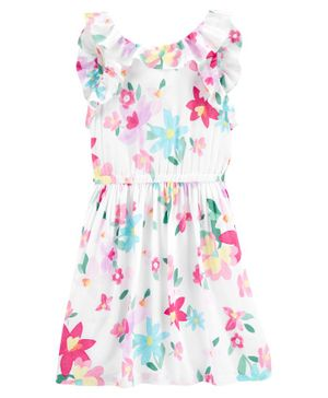 Carter's Floral Flutter Poplin Dress - White Pink