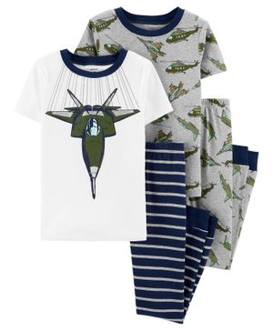 Carter's 4-Piece Aircraft Snug Fit Cotton PJs - Grey White Blue