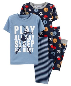 Carter's 4-Piece Sports Snug Fit Cotton PJs - Blue