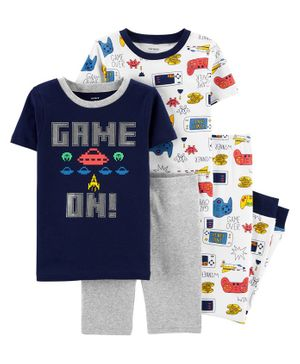 Carter's 4 Piece Video Game Snug Fit Cotton PJs - Navy Grey White