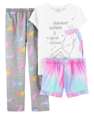 Carter's 3-Piece Glitter Unicorn Poly PJs - Multicolor