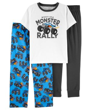 Carter's 3-Piece Monster Truck Poly PJs - Blue White