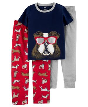 Carter's 3-Piece Dog Poly PJs - Grey Navy Red