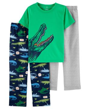 Carter's 3-Piece Alligator Poly PJs - Green Navy Grey