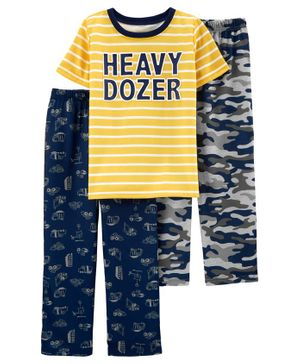 Carter's 3-Piece Construction Truck Poly PJs - Yellow Navy Grey