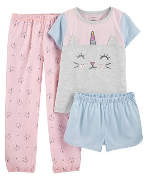 Carter's 3-Piece Cat Unicorn Poly PJs - Pink Blue