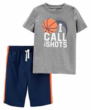 Carter's Half Sleeves 100% Cotton Tee & Shorts Set Basket Ball Print - Grey Navy Blue