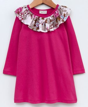 CrayonFlakes Flower Print Ruffled Neckline Full Sleeves Dress - Pink