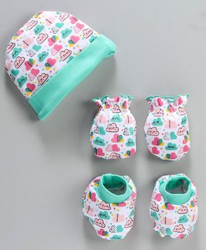 Babyhug 100% Cotton Cap And Mittens With Booties Clouds Print - Sea Green