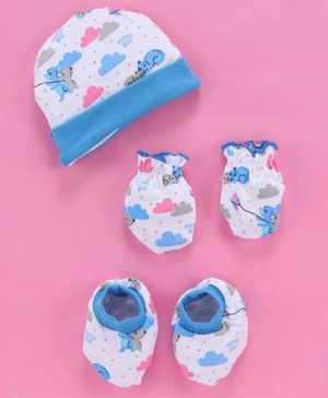 Babyhug 100% Cotton Cap And Mittens With Booties Bear Print - Blue