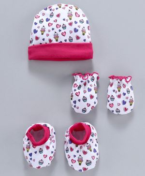 Babyhug 100% Cotton Cap With Mittens & Booties Ice Cream Print - White Pink