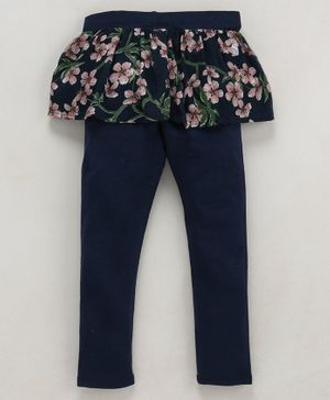 Crayonflakes Floral Print Full Length Skeggings - Navy Blue