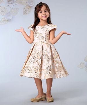 Mark & Mia Cap Sleeves Party Wear Frock Floral Emboss - Golden