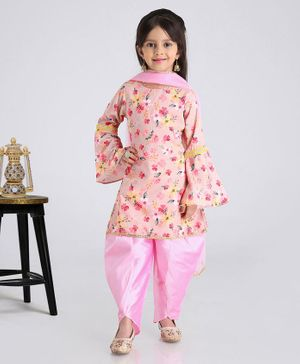 Babyhug 3/4th Bell Sleeves Patiala Suit With Dupatta Floral Print - Pink