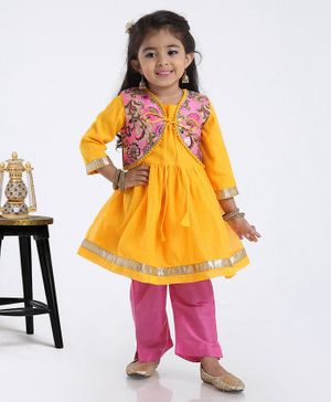 Babyhug 3/4th Sleeves Kurti With Mock Jacket & Salwar Set Floral Design - Yellow