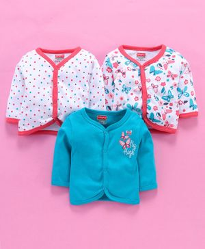 Babyhug Full Sleeves Vests Dots & Butterfly Print Pack of 3 - Blue White Pink