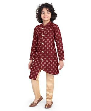 Nakshi By Yug Buti Work Full Sleeves Kurta & Pajama - Maroon & Golden