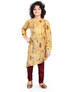 Nakshi By Yug Digital Print Full Sleeves Kurta & Pajama - Yellow &  Maroon