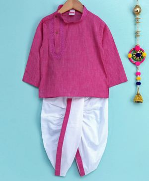 Babyhug Full Sleeves Cotton Embroidered Kurta & Dhoti - Purple