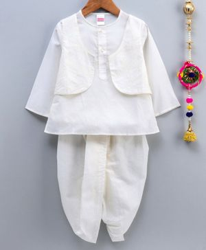 Babyhug Full Sleeves Cotton Kurta And Dhoti With Embroidered Jacket - Off White
