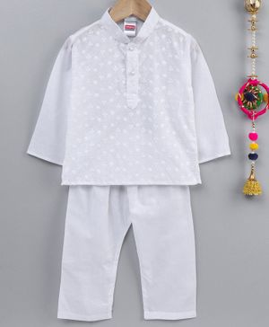 Babyhug Cotton Embroidered Kurta & Pyjama - White