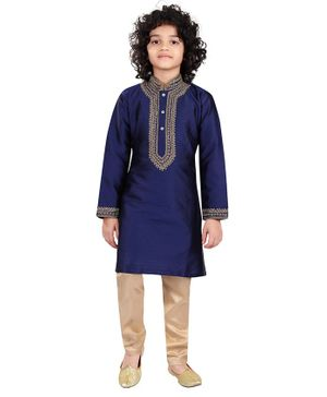 Nakshi By Yug Embroidered Full Sleeves Kurta With Pyjama - Navy Blue & Beige