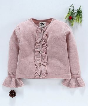 Yellow Apple Full Sleeves Solid Color Cardigan - Pink
