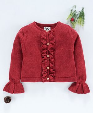 Yellow Apple Full Sleeves Solid Color Cardigan - Red