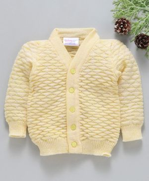 Little Angels Full Sleeves Sweater Half Diamond Design - Yellow