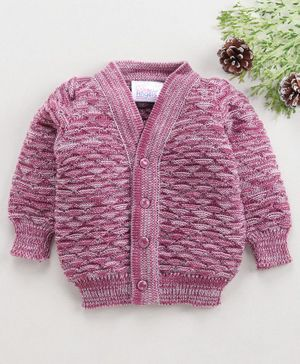 Little Angels Full Sleeves Sweater Half Diamond Design - Wine