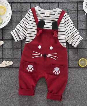 Pre Order - Awabox Striped Full Sleeves Tee & Paw Printed Dungaree Set - Red
