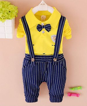 Pre Order - Awabox Full Sleeves Tee With Suspender Striped Pants & Attached Bow Tie - Yellow